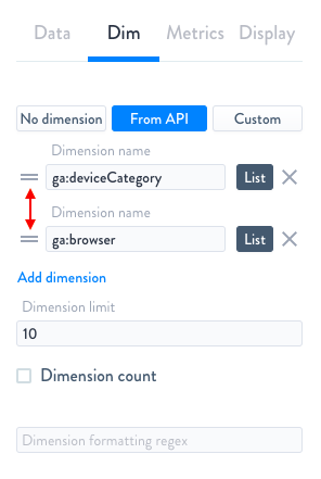 Drag-and-drop Dimension re-order
