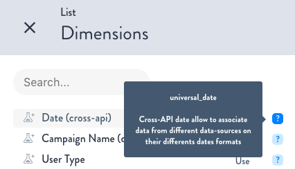 New Dimension cross-API date