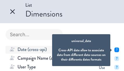 New Dimension cross-API date