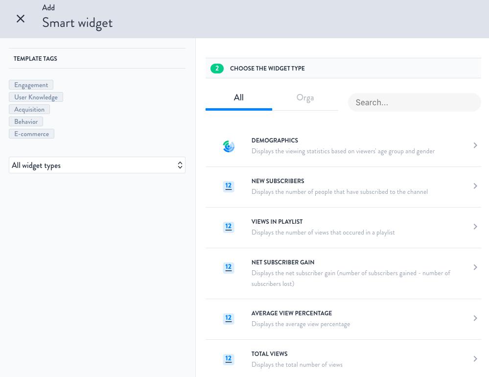 Smart Widgets for Youtube Analytics
